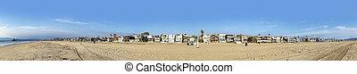 scenic beach houses at the promenade of Manhattan beach, USA near Los Angeles