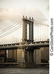 Manhattan bridge and the river in old vintage style, New York