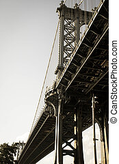 Manhattan bridge in dark vintage style, Brooklyn, New York