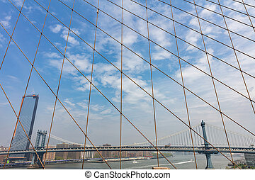 Manhattan Bridge over East river, New York city, view from Brooklyn bridge