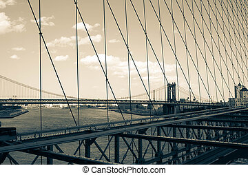 Manhattan bridge over the river from Brooklyn bridge's view in vintage style, New York