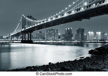 Manhattan Bridge - New York City Manhattan Bridge closeup...