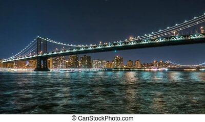 Manhattan Bridge Timelapse at night