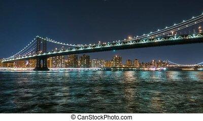 Manhattan Bridge Timelapse at night
