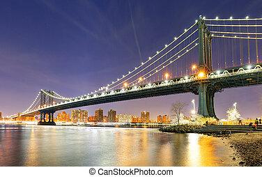 manhattan bridzs, alatt, új york város