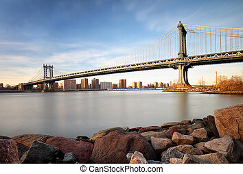 manhattan bridzs, felett, kelet folyó, -ban, napnyugta, alatt, új york város, manhattan