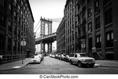 manhattan bridzs, kilátás, alapján, washington, utca, alatt, brooklyn, fekete-fehér, új york város, usa
