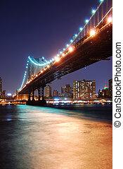 manhattan bro, över, hudson flod