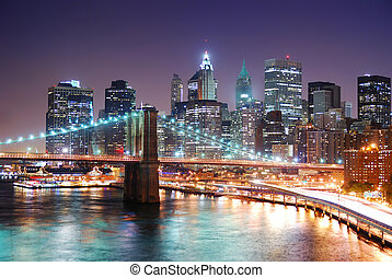 manhattan brug, stad, york, nieuw, brooklyn