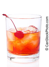 Manhattan Cocktail in old fashioned glass isolated on white