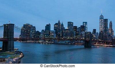manhattan, crépuscule, timelapse, horizon, pont brooklyn