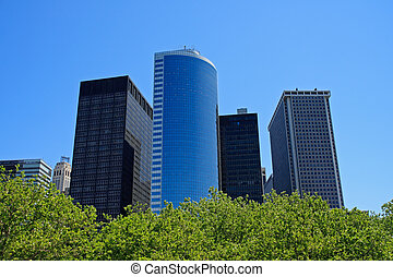Financial district buildings from Battery Park - Manhattan, New York City, USA