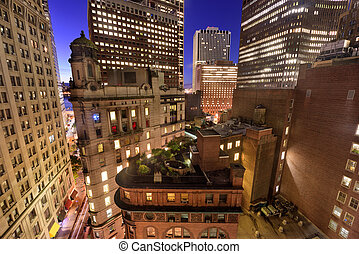 Financial district cityscape with new and old architecture in New York City.