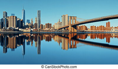 Manhattan financial district with skyscrapers and Brooklyn...