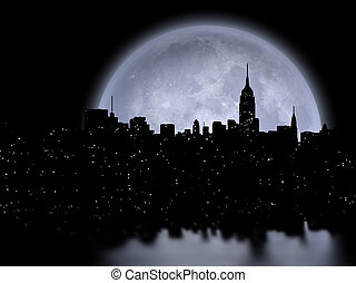 Manhattan Full moon - NYC Cityscape reflects in the moon. 3D...