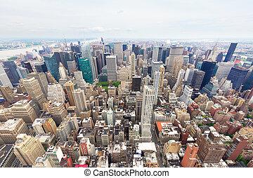 Manhattan in a cloudy day