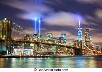 Manhattan in memory of September 11 - Manhattan skyline with...