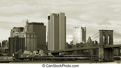 Manhattan in sepia - Brooklyn bridge and Lower Manhattan
