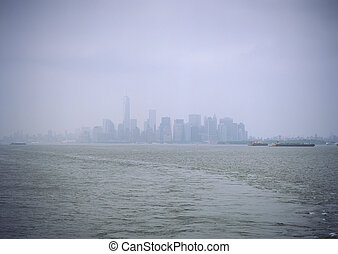 Manhattan in the fog.