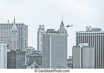 Manhattan Island panorama from the Staten Island Ferry, New York