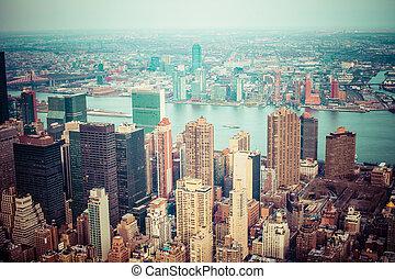 manhattan, kilátás, láthatár, antenna, napnyugta, város, york, új