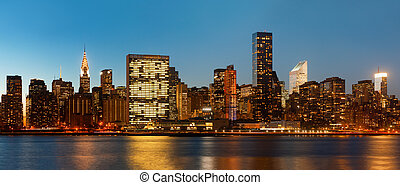Manhattan. Late evening New York City skyline panorama