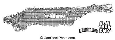 Manhattan map horizontal alinged