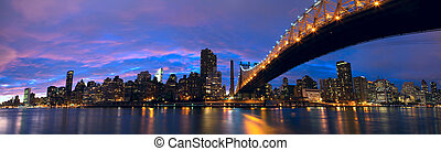 Manhattan midtown panorama - NYC Queensboro Bridge and...