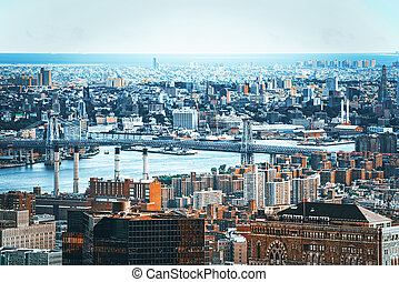 manhattan, názor, skyscraper's, čerstvý, pozorování, deck., ...