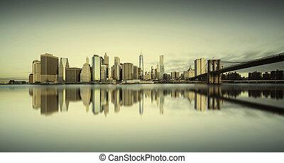 manhattan, napkelte, new york