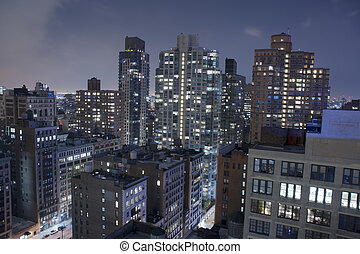 Manhattan New York City Skyline and Rooftops