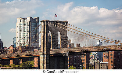 New York City skyline panorama with Brooklyn Bridge