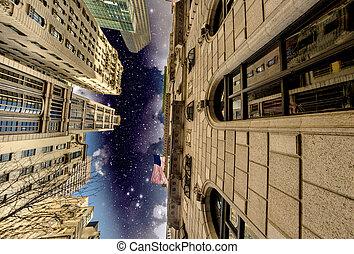 Manhattan, New York City. Wonderful night view of Tall...