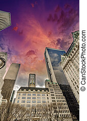 Manhattan, New York City. Wonderful view of Tall Skyscrapers fro