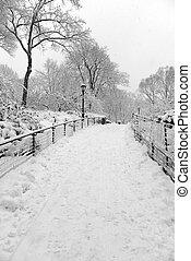 Manhattan New York in Winter snow