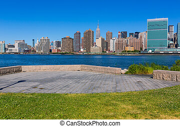 manhattan, new york, napos, láthatár, kelet folyó, nyc