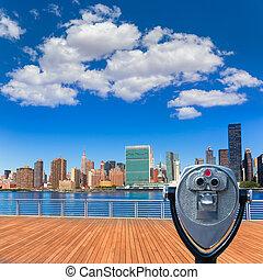 Manhattan New York sunny skyline East River NYC USA...