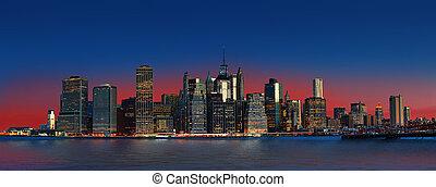 Manhattan. Night New York City skyline panorama