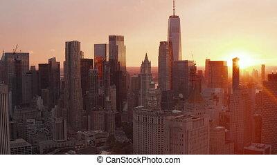manhattan, nouveau, horizon, beau, aerial:, coucher soleil, vibe, york, ville