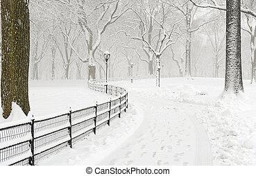 manhattan, nowy york, w, zima, śnieg