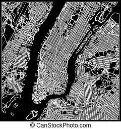 Manhattan nyc map on black