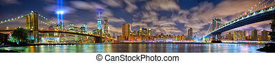 Manhattan panorama in memory of September 11
