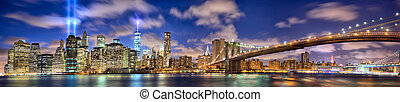 Manhattan panorama in memory of September 11 - Manhattan...