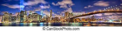 Manhattan panorama in memory of September 11 - Manhattan...
