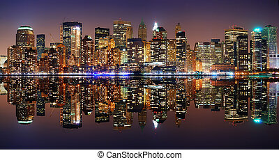 Manhattan panorama, New York City Skyline at night with ...