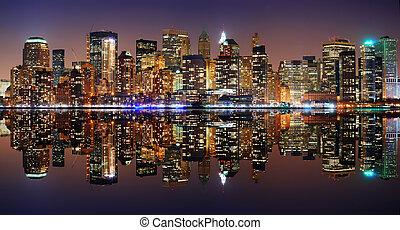 Manhattan panorama, New York City Skyline at night with...