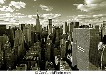 Manhattan panorama - Sepia-colored view of midtown from ...