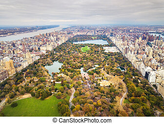 Manhattan panoramic aerial view from Central park