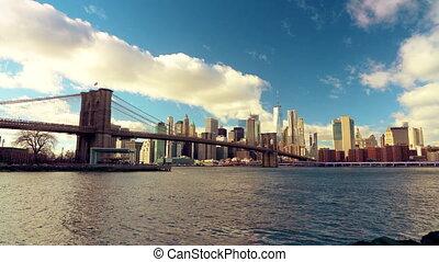 manhattan, słoneczny, brooklyn, dzień, most