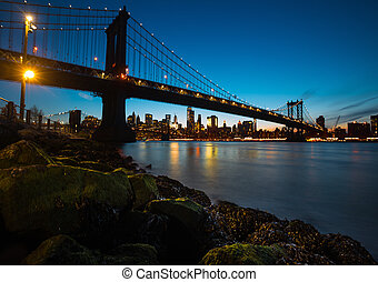 Manhattan Bridge At Night - Manhattan Skyline and Manhattan...